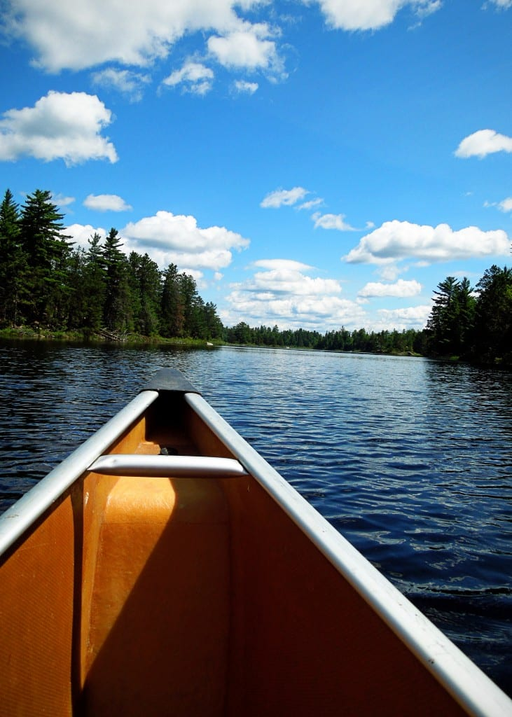 My view from the front of the canoe.