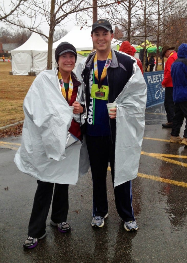 Fayetteville Half with my friend David. It was 40 degrees and RAINING, but Half Marathon #10 for me!