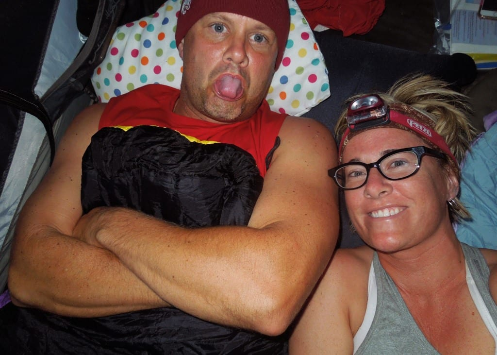 Tent selfies. I think we were delirious.