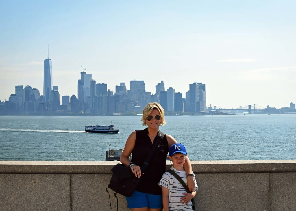 Mommy and Colt from the pedestal of the Statue of Liberty - Manhattan backdrop.