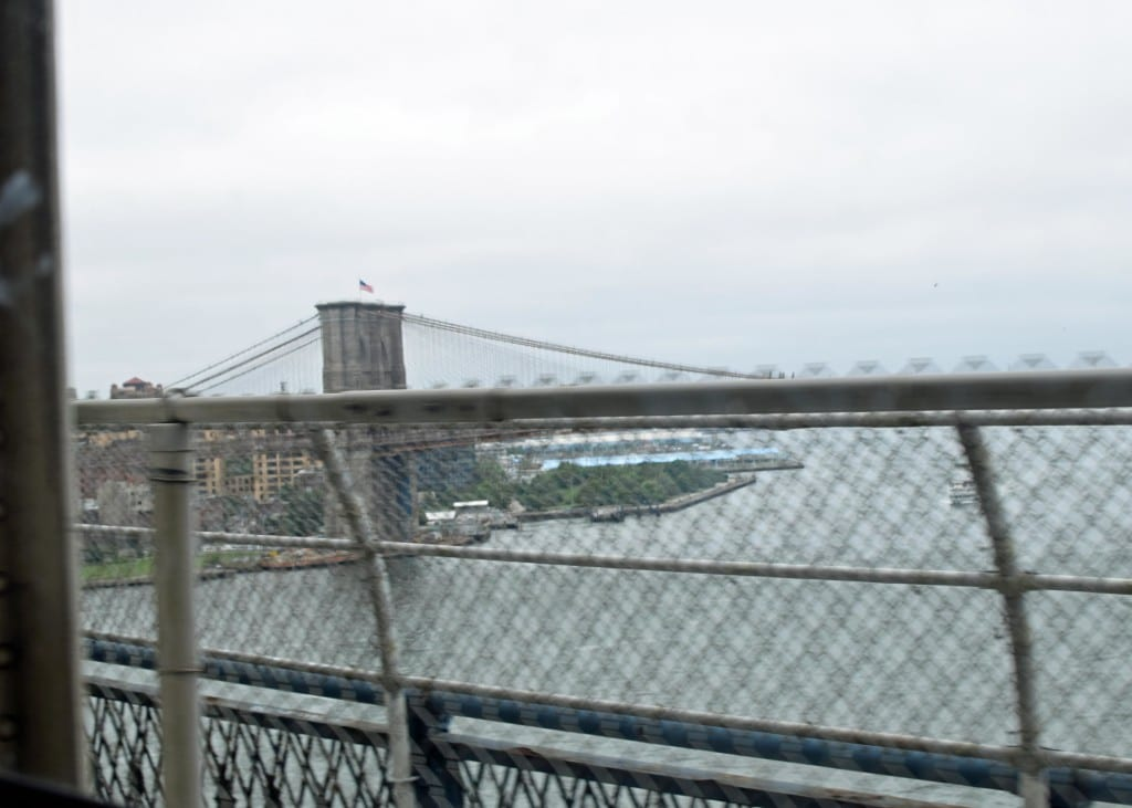 Once we were approaching Brooklyn, the subway goes above ground - the Brooklyn Bridge!